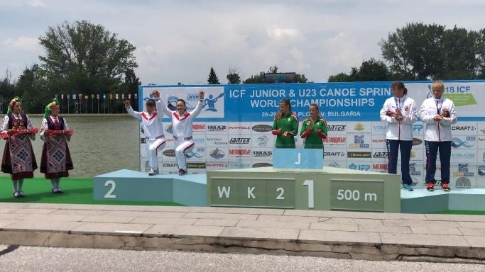 Анастасия Долгова и Крупнова Виктория награждение на первенстве мира 2018 в Болгарии